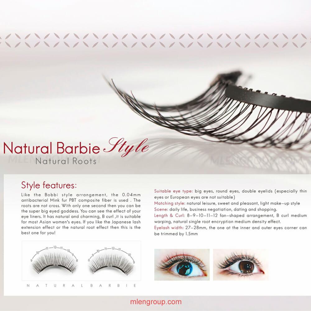 mlen group mlen magnetic eyelashes brown natural barbie 8
